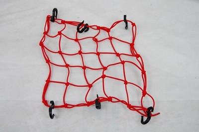 rögzítő háló sisak csomag beakasztós, piros, műanyag beakasztó