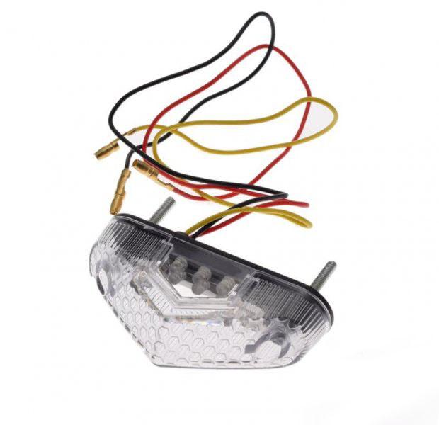 Hátsó lámpa, LED, fehér búra, univerzális