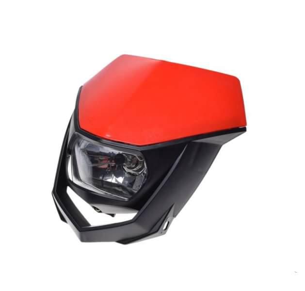 Első fényszóró, idommal piros-fekete