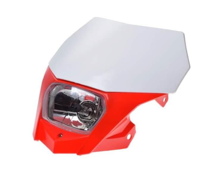 Első fényszóró, idommal piros-fehér