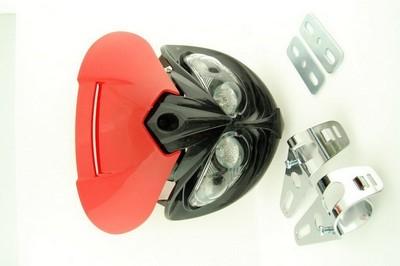 első fejidom fényszóróval, univerzális 4x HALOGEN piros