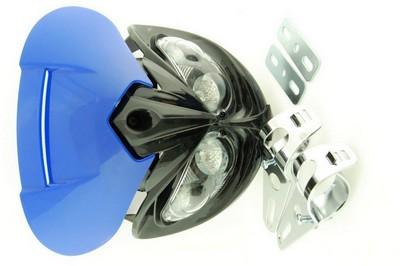 első fejidom fényszóróval, univerzális 4x HALOGEN kék