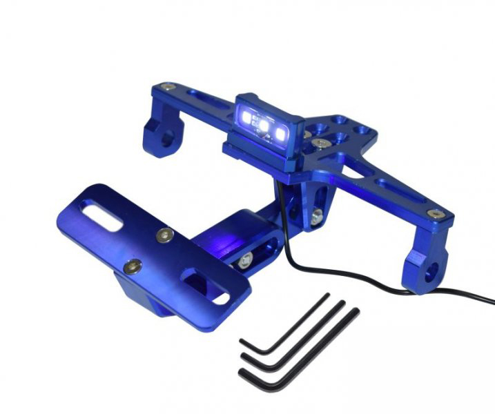 Rendszámtábla tartó konzol + világítás, kék  (UNIVERZÁLIS)