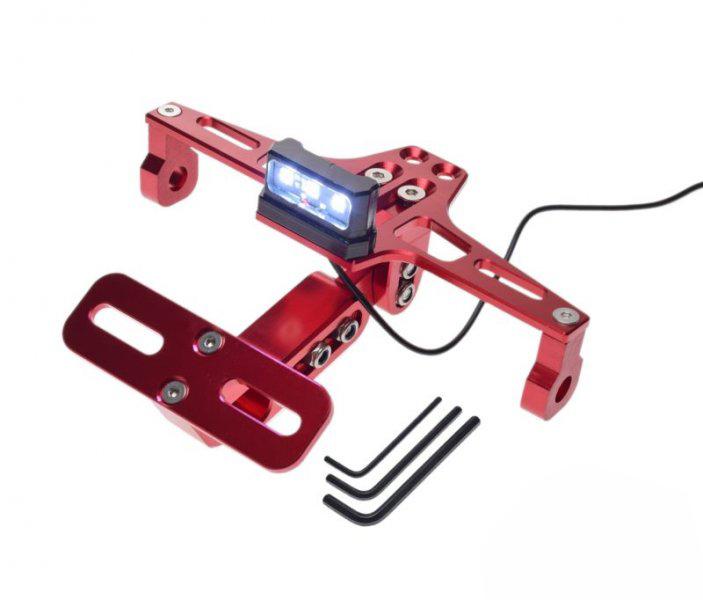Rendszámtábla tartó konzol + világítás, piros  (UNIVERZÁLIS)