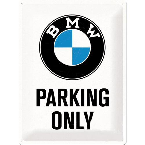 Acéltábla, dombornyomott BMW Parking 30x40cm