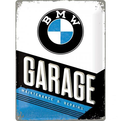 Acéltábla, dombornyomott BMW GARAGE 30x40cm