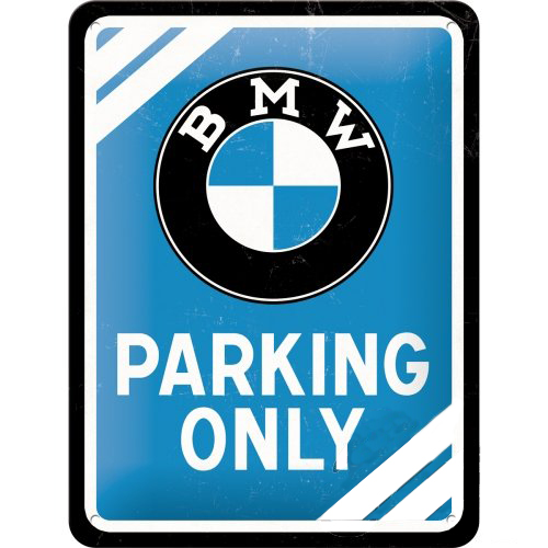 Acéltábla, BMW PARKING 15x20cm