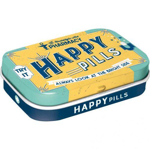 Doboz (cukorkás) HAPPY PILLS fém, 4b-os szett, mentholos cukorkát tartalmaz