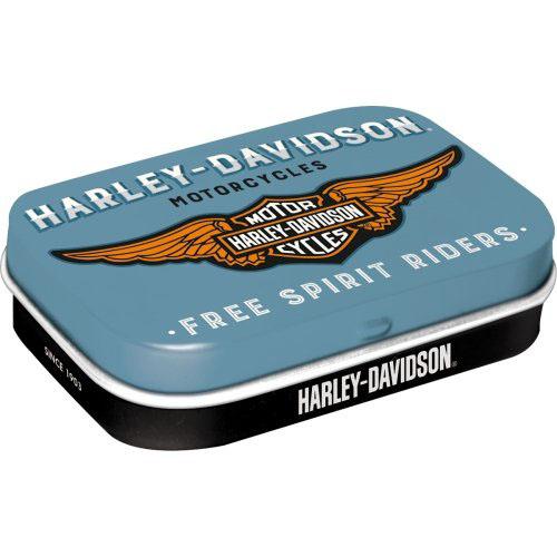Doboz (cukorkás) HARLEY-DAVIDSON fém, 4b-os szett, mentholos cukorkát tartalmaz