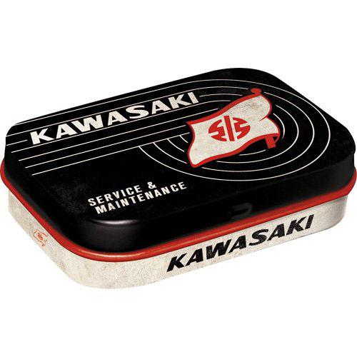 Doboz (cukorkás), KAWASAKI TANK LOGO fém, 4b-os szett, mentholos cukorkát tartalmaz
