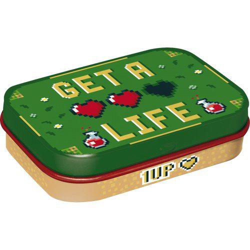 Doboz (cukorkás), GET A LIFE, fém, 4b-os szett, mentholos cukorkát tartalmaz