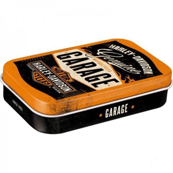 Doboz (cukorkás) XL HARLEY DAVIDSON GARAGE fém, mentholos cukorkát tartalmaz