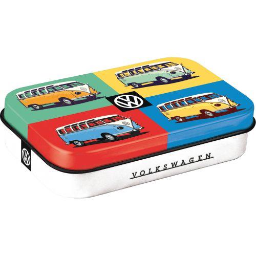 Doboz (cukorkás), VW BULLI POP ART XL fém, mentholos cukorkát tartalmaz