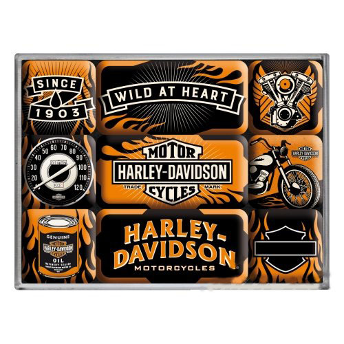 Hűtőmágnes szett, 9 darabos, HARLEY-DAVIDSON WILD SET 9 PCS 83074