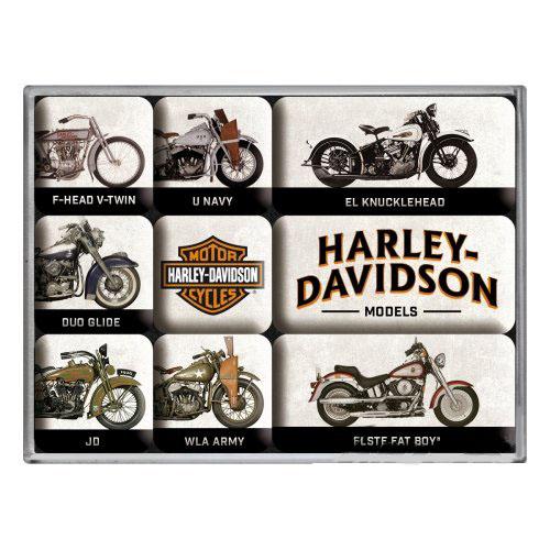 Hűtőmágnes szett, 9 darabos, HARLEY-DAVIDSON MODEL CHART SET 9 PCS 83102