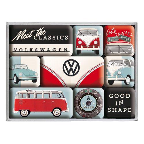 Hűtőmágnes szett, 9 darabos, VW MEET CLASSICS 9 PCS 83107