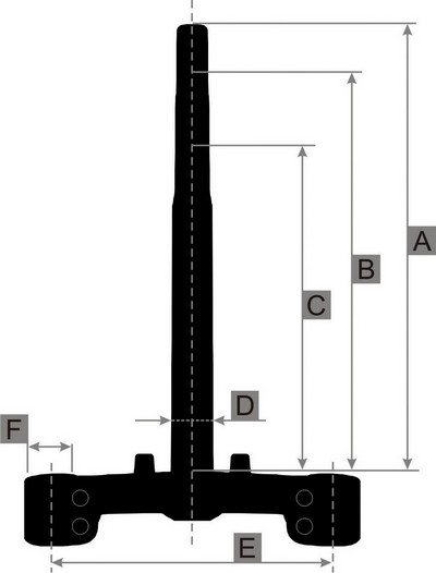 kormány nyak + alsó villahíd, rugóstag befogató QT-4