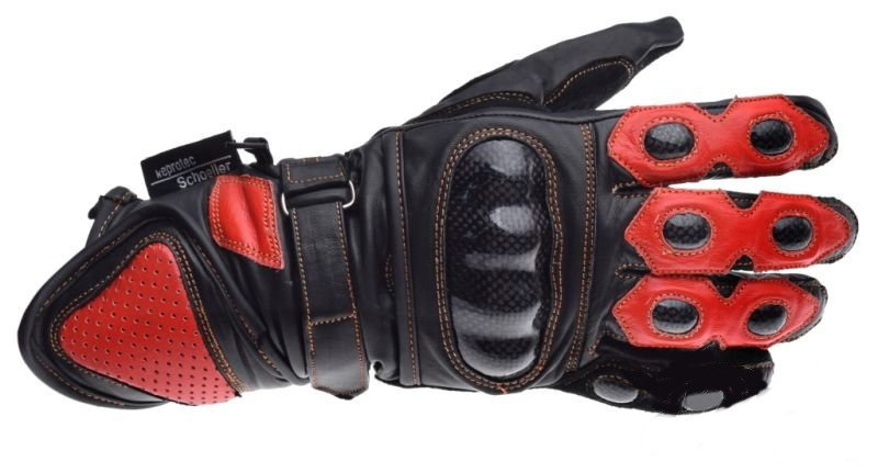 Motoros Bőr kesztyű Piros-Fekete Kevlar L
