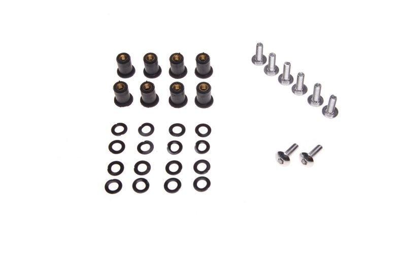 Csavar, szélvédő gumival, fekete 8 darabos