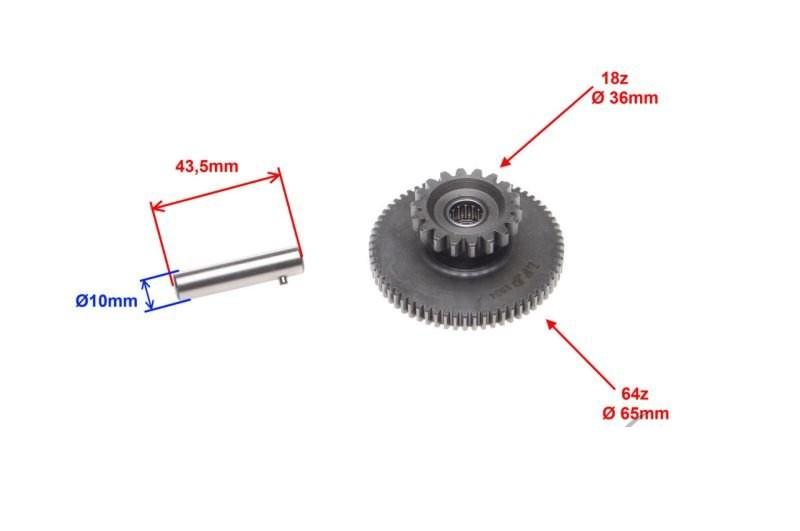 fogaskerék, köztes önindító motor KICSI ROMET ZETKA